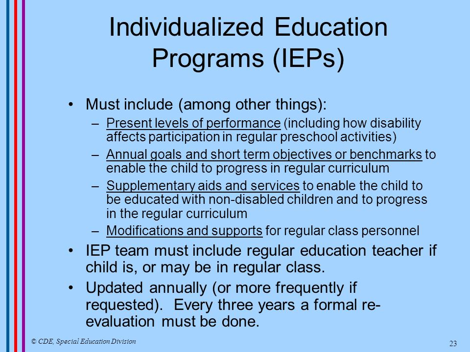 Placement Options Regular Class Designated Instruction and Services Resource Specialist Special Classes and Centers State Special Schools Non-public Schools and Agencies © CDE, Special Education Division 24
