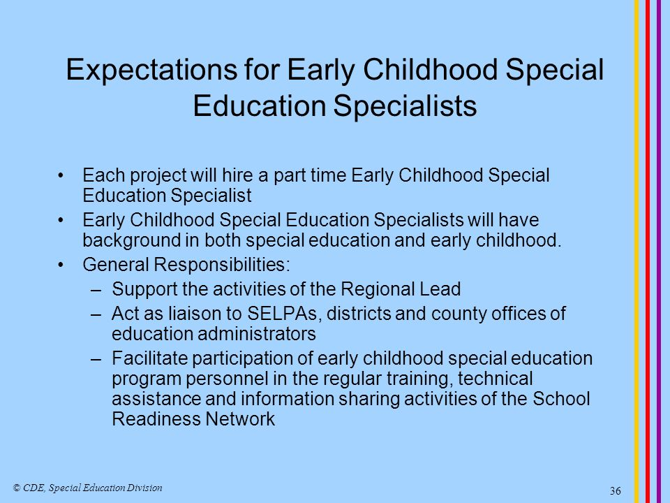 What Early Childhood Special Education Specialists can be doing… Become familiar with the program requirements for preschool age children with disabilities.