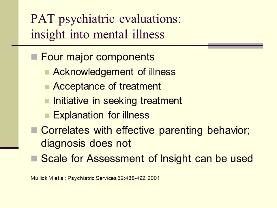 Example of conclusions from a PAT psychiatric evaluation Ms.