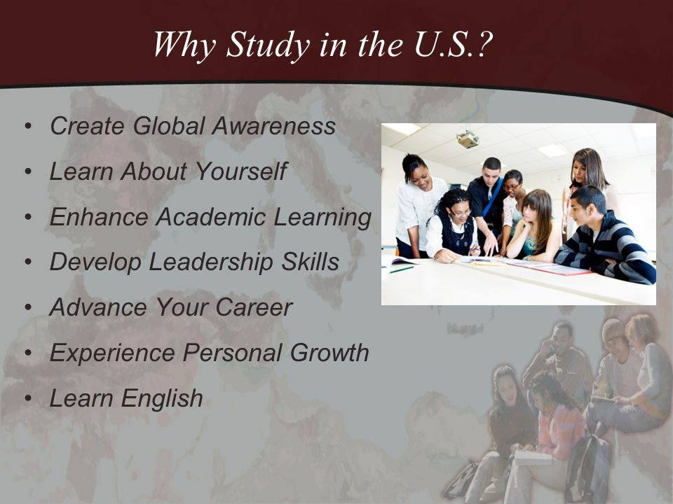 My Experience in the U.S.Create several slides here to show your time spent in the U.S.