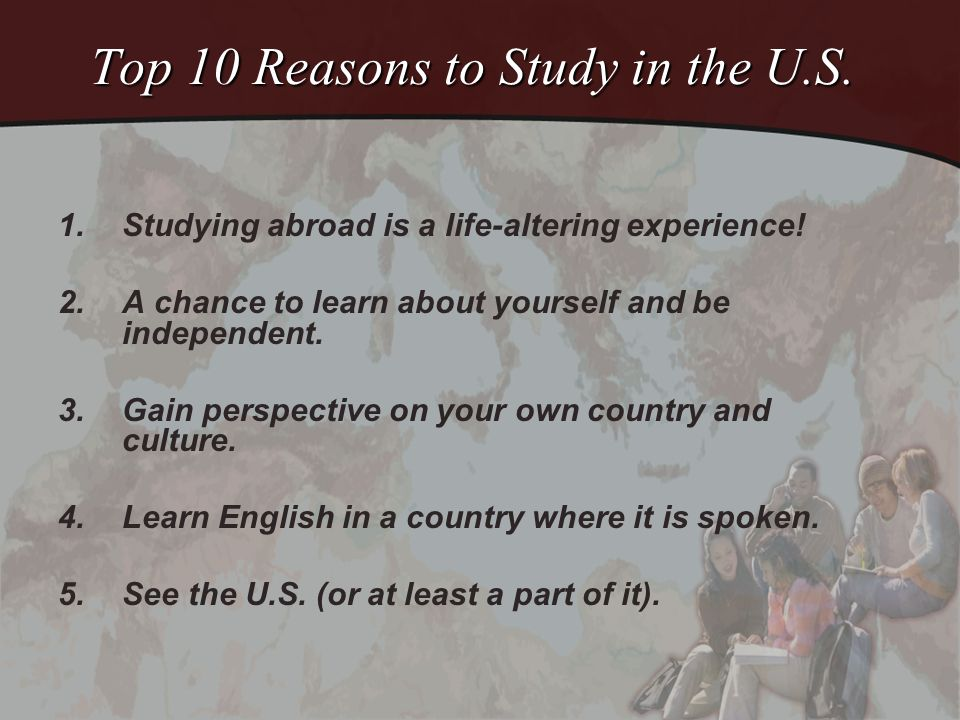 Top 10 Reasons (Continued) 6.Programs can work with any major.