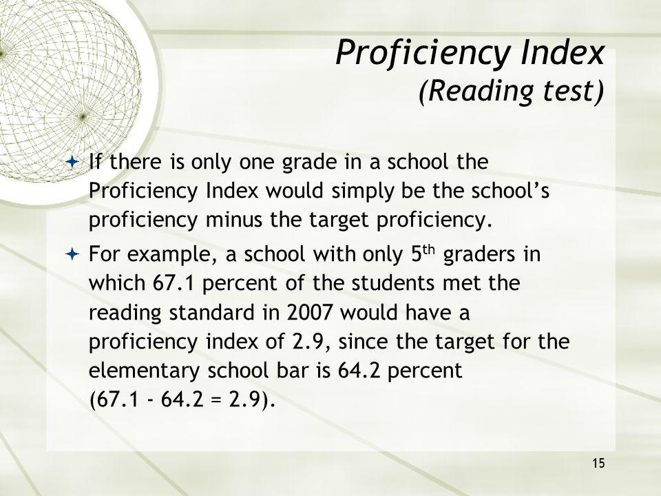 16 Calculating the index for schools with multiple grades combines each grade level difference and weights the differences by the number of students in the grade.
