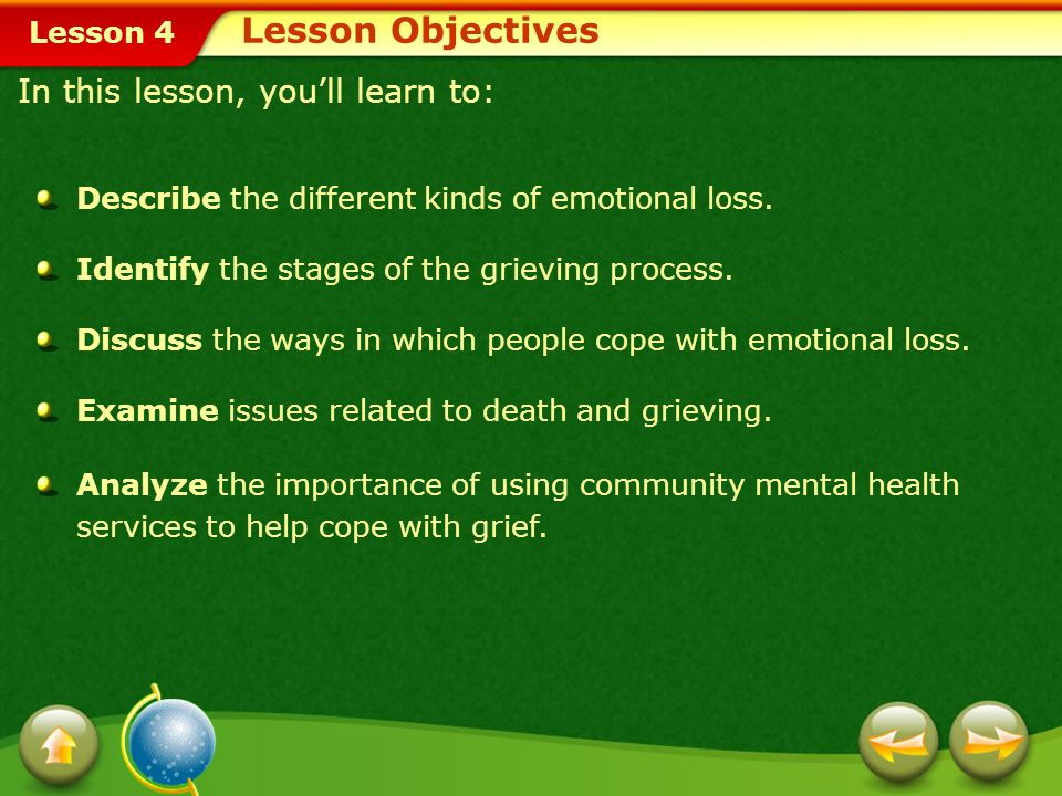 Lesson 4 Lesson Objectives Describe the different kinds of emotional loss.