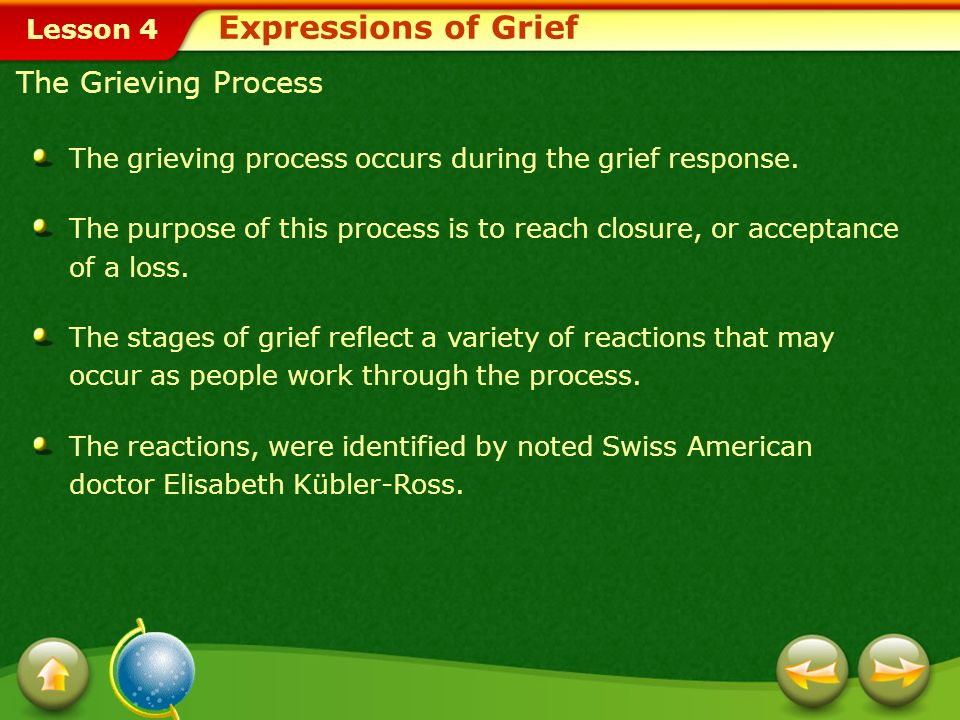 Lesson 4 The grieving process occurs during the grief response.