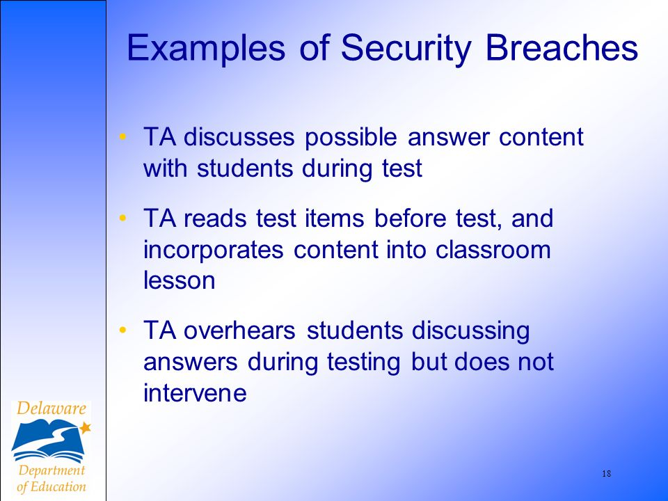 19 Examples, contd TA reads completed student response booklets and discusses them with colleagues in faculty room TA administers test accommodations not listed in a students IEP or DELSIS record