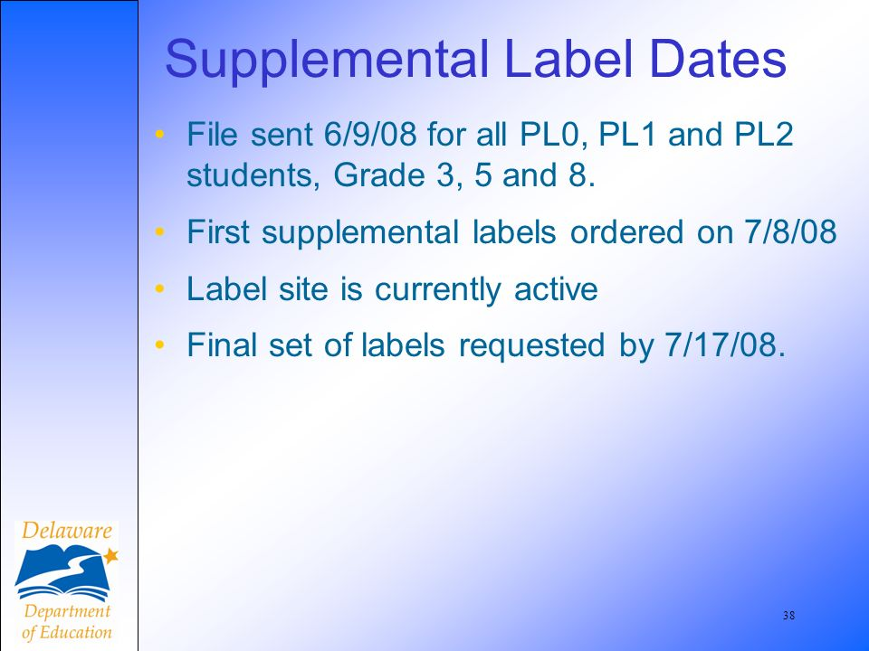 39 Do Not Delay Shipment If you test students and do not receive labels in time for shipping your materials, do not delay your shipment –Make sure you write the student information on the back of the booklet.