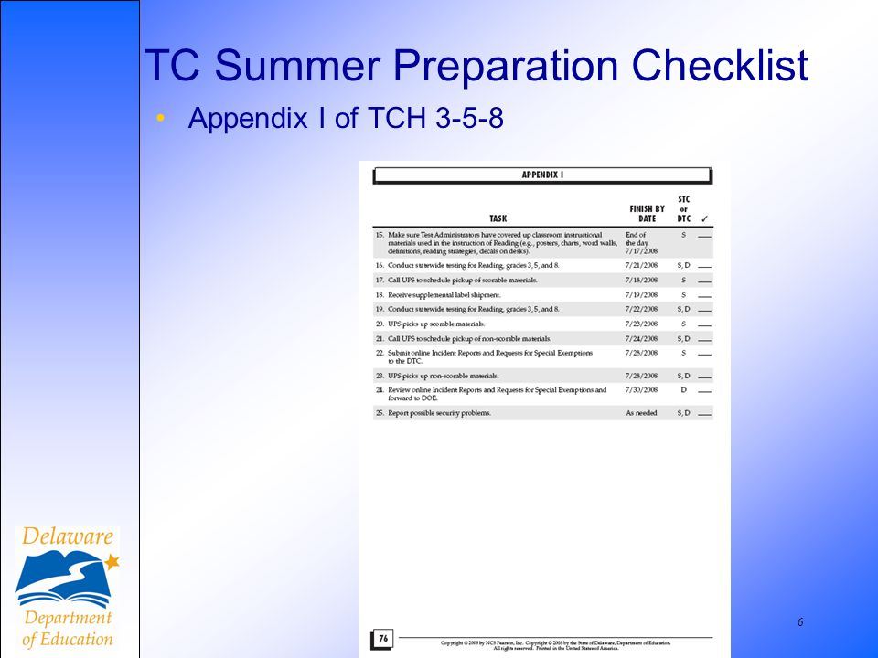 7 Who must attend summer school AND take the DSTP? Page 7 and Appendix C, TCH