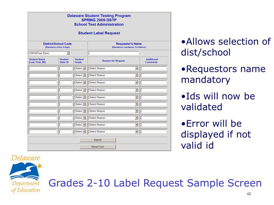 43 Label Request Confirmation Screen