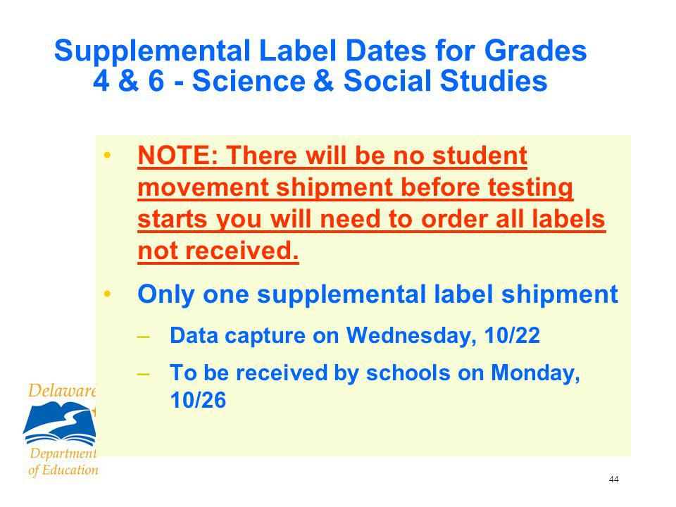 45 Supplemental Label Dates for Grades 4 & 6 - Science & Social Studies If labels not received in time for shipping your materials, do not delay your shipment –Make sure student information (including ID) is on back of booklet – DO NOT return these booklets in a Special Handling envelope