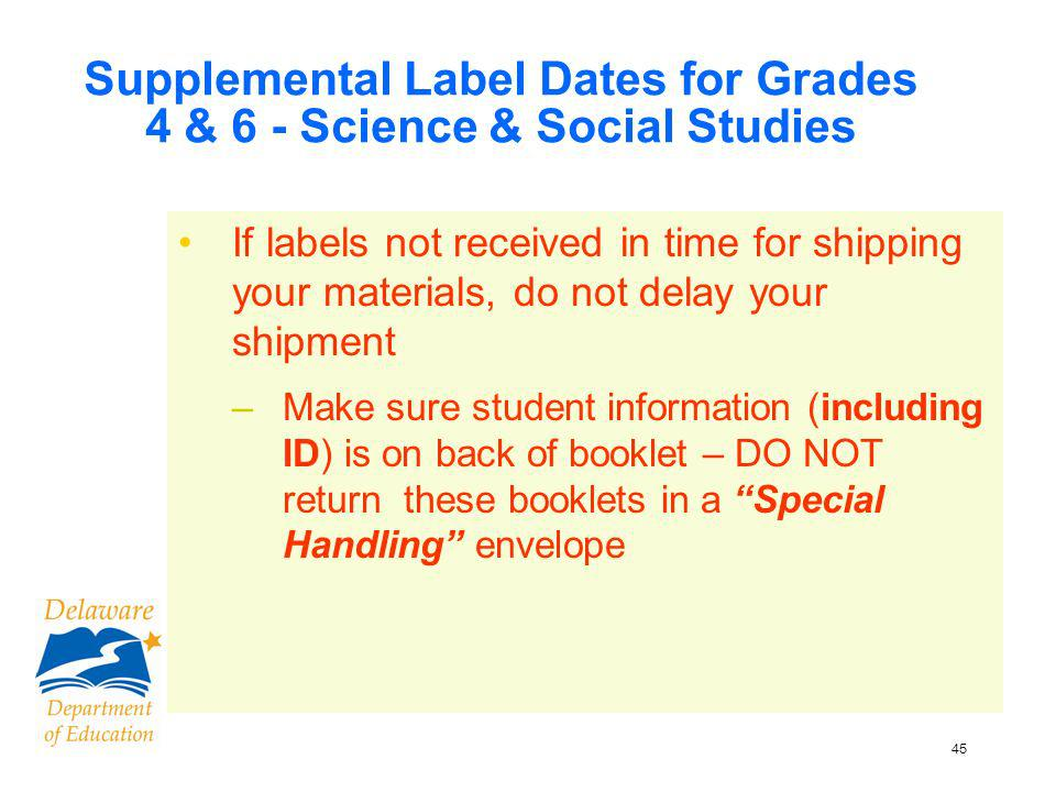 46 Applying Student Labels ID info is NOT printed on ANY fall 2009 test booklets Labels arrive on sheets Apply labels to booklets –Verify information on the label –Peel label from top to bottom –Place label in the box on back cover