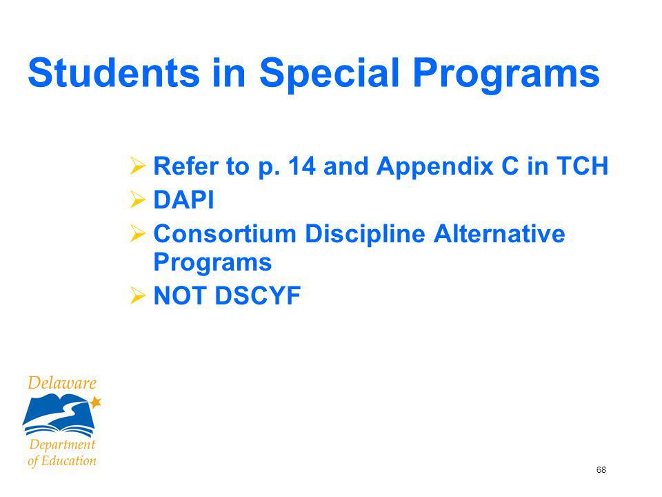69 Consortium Discipline Alternative Programs – Appendix D You must transfer materials to the following sites if they are serving your students: –Because We Care –PEAK –Parkway Academy (Provcorp) –SCOPE –Kingswood Academy Also, DAPI
