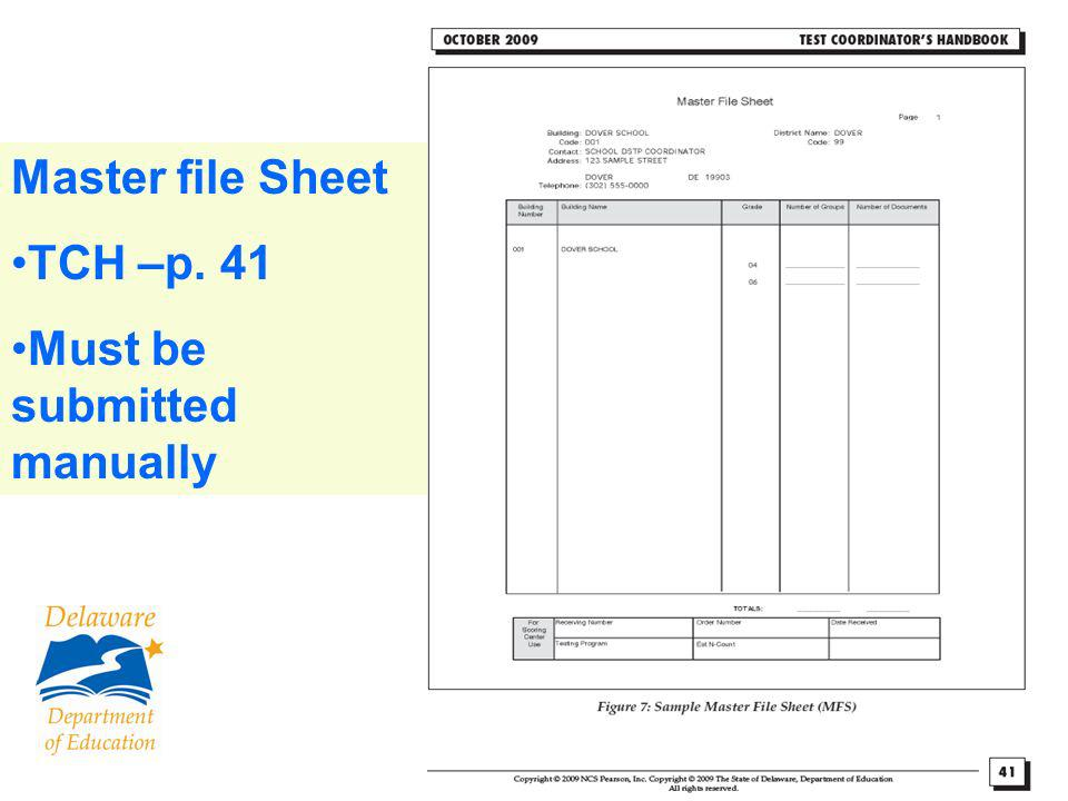 92 Scoring Service Identification Sheet (SSID) One per grade Only side 1 TCH –p. 42