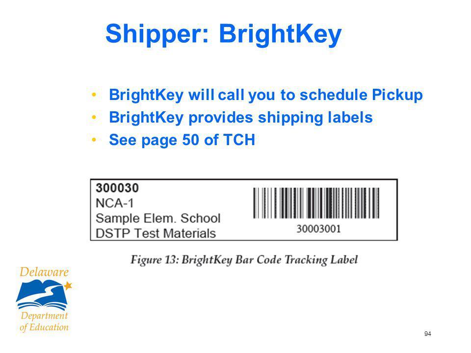 95 BrightKey Pick-up BrightKey retrieval ticket TCH – pg 51