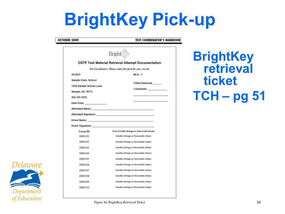 96 Checklist for School Test Coordinators – Scorable booklets Returning Scorable Booklets TCH p. 52