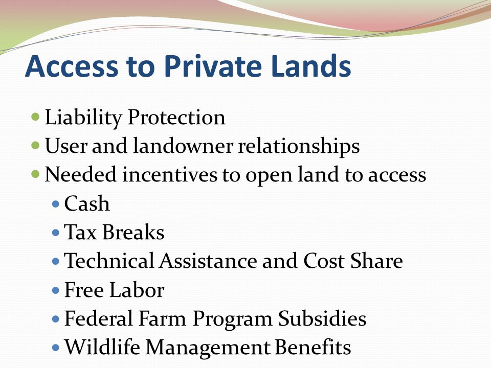 RECOMMENDATIONS Amend the Recreational Use of Land and Waters Area Act Develop a Program to Provide Access to public and Private Lands Create a State Water Trails Plan and a Model Heritage Water Trail Star Parks on State-owned Sites