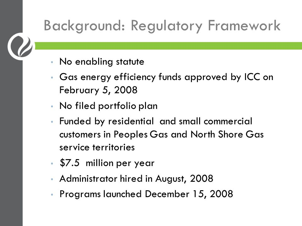 Background: Administration Oversight by Five-Member Governance Board Peoples Gas/North Shore Gas; Attorney General; Citizens Utility Board; Environmental Law and Policy Center; City of Chicago Provides broad strategic direction and oversight Administrator Advises Governance Board Procures and manages programs Program Implementers Run programs