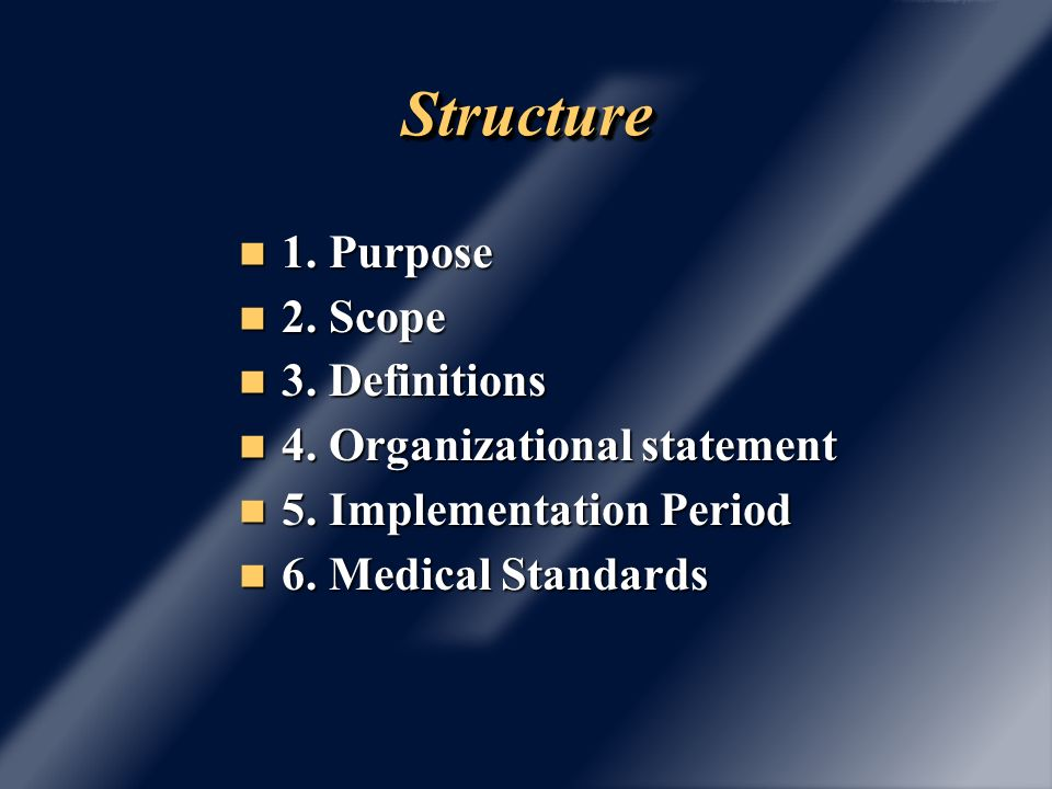 StructureStructure 7.Substance abuse programs 8. Personal Protective Equipment 9.