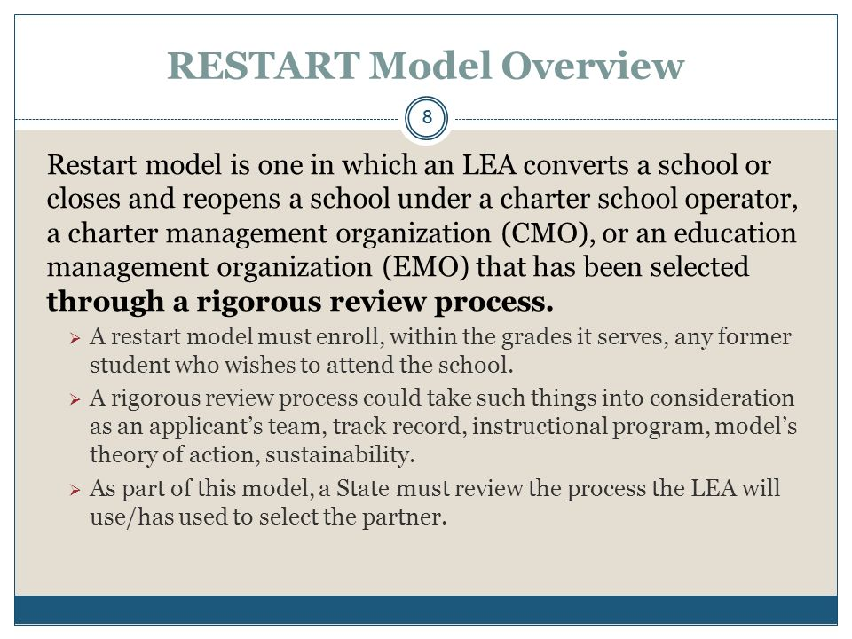 SCHOOL CLOSURE Model Overview School closure occurs when an LEA closes a school and enrolls the students who attended that school in other schools in the LEA that are higher achieving.