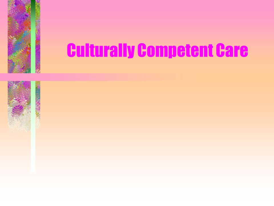 CULTURAL COMPETENCIES Involve understanding & respecting the patients cultural values, beliefs & practices Consider: –views about health & health care –family & community relationships –language & communication styles –ties to another country or part of the US –food preferences –religion –views about death –other factors that may affect care needs