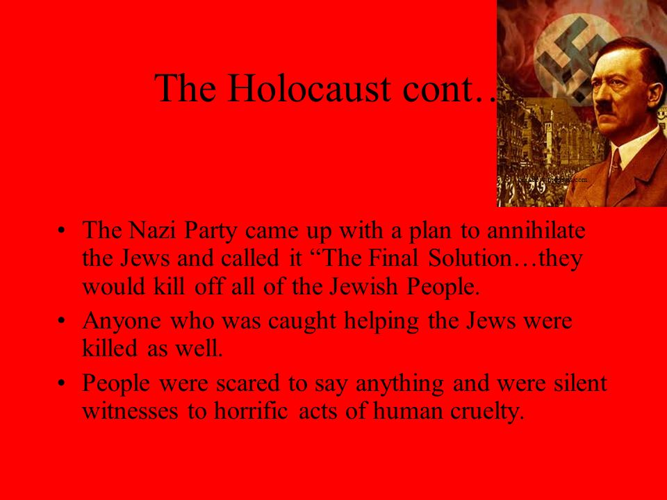 The Holocaust cont… The Nazis set up concentration camps where Jews, if they were lucky to be chosen to live, had to work with little or no food, lice, disease, sickness, and guns in their faces all day.