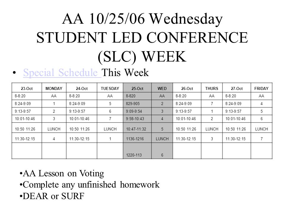 AA 10/26/06 Thursday STUDENT LED CONFERENCE (SLC) WEEK Special Schedule This WeekSpecial Schedule 23-OctMONDAY24-OctTUESDAY25-OctWED26-OctTHURS27-OctFRIDAY 8-8:20AA8-8:20AA8-820AA8-8:20AA8-8:20AA 8:24-9:091 5829-90528:24-9:097 4 9:13-9:572 69:09-9:5439:13-9:571 5 10:01-10:463 79:58-10:43410:01-10:462 6 10:50 11:26LUNCH10:50 11:26LUNCH10:47-11:32510:50 11:26LUNCH10:50 11:26LUNCH 11:30-12:154 11136-1216LUNCH11:30-12:153 7 1220-1136 Take Home Communication Folders Complete any unfinished homework DEAR or SURF