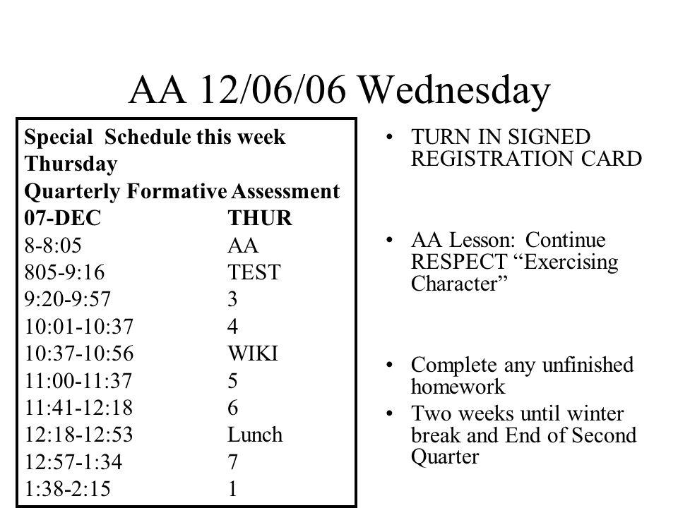 AA 12/07/06 Thursday Q.F.A.