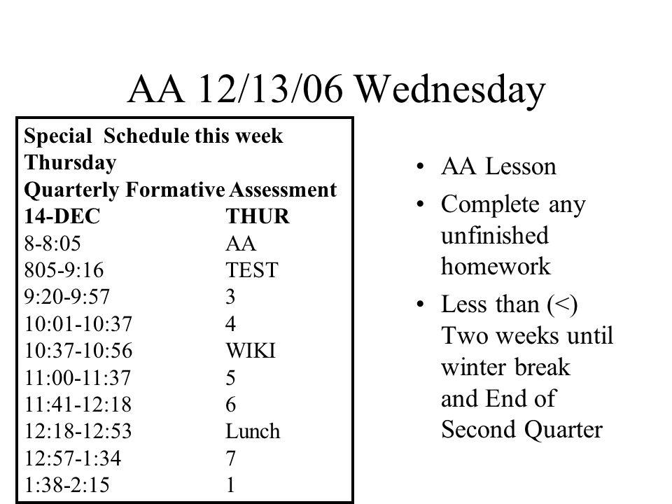 AA 12/14/06 Thursday Q.F.A.