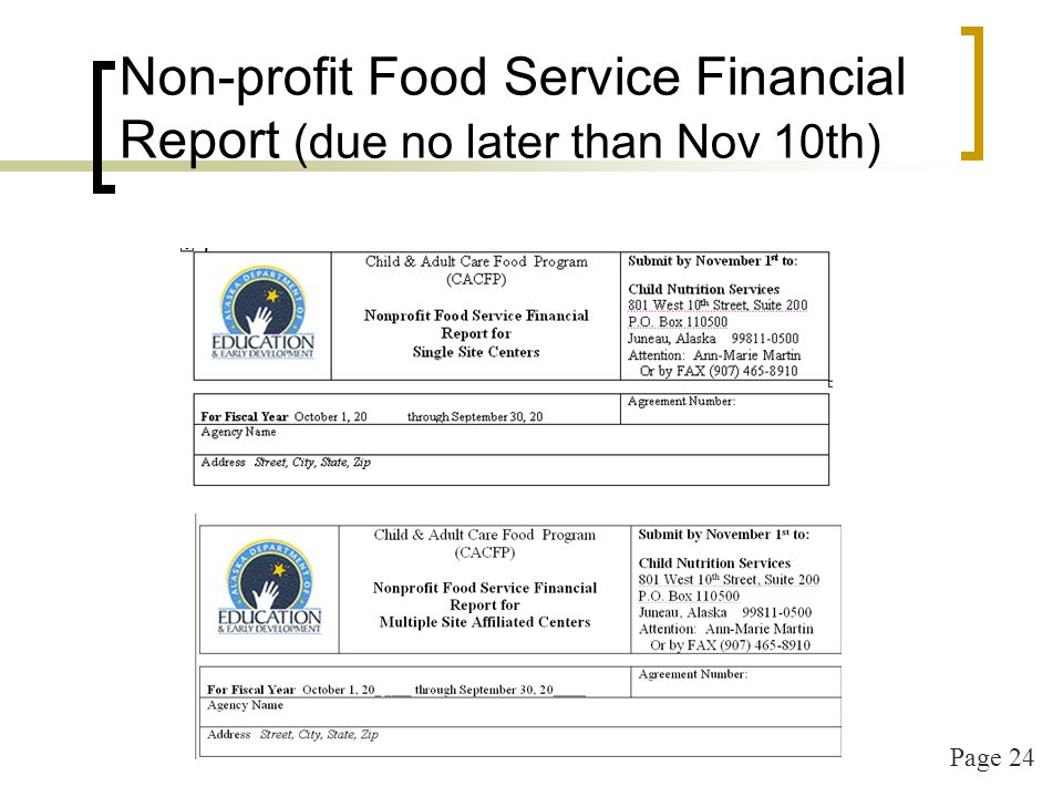 Page 25 Additional Documents for Renewal (every 3 years) Submit to the state agency by October 1 st : Recipes & recipe analysis Organizational Chart And if the following have changed: Outside Employment Policy Mission Statement Non-discrimination Statement
