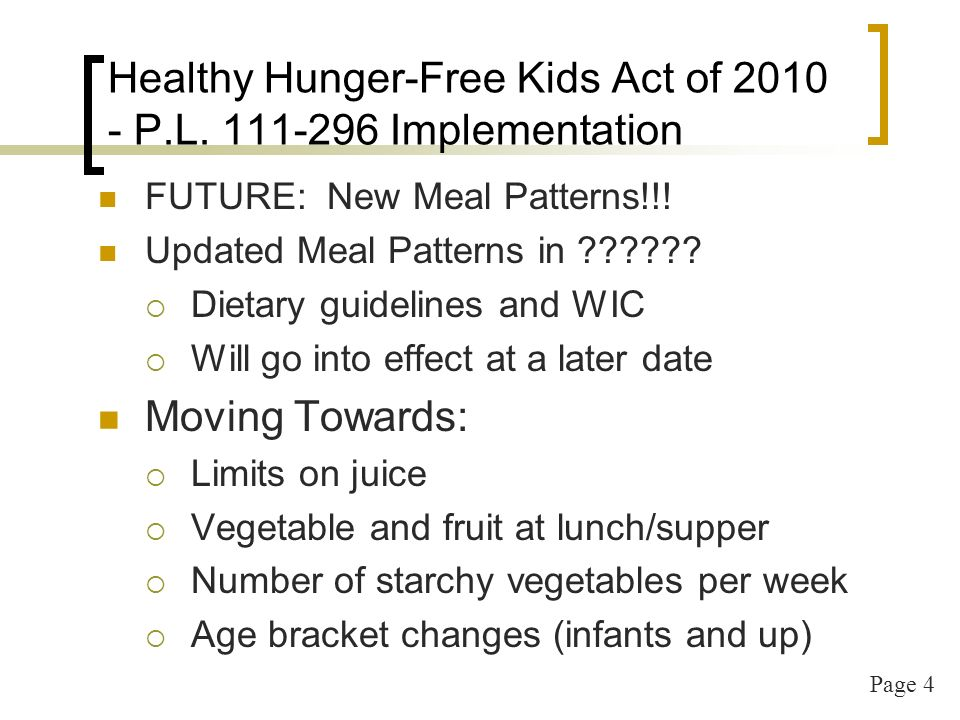 Page 5 USDA – Child and Adult Care Food Program Regulations Code of Federal RegulationsTitle 7 Agriculture, Chapter II – Food and Nutrition Service, Department of Agriculture Part 226