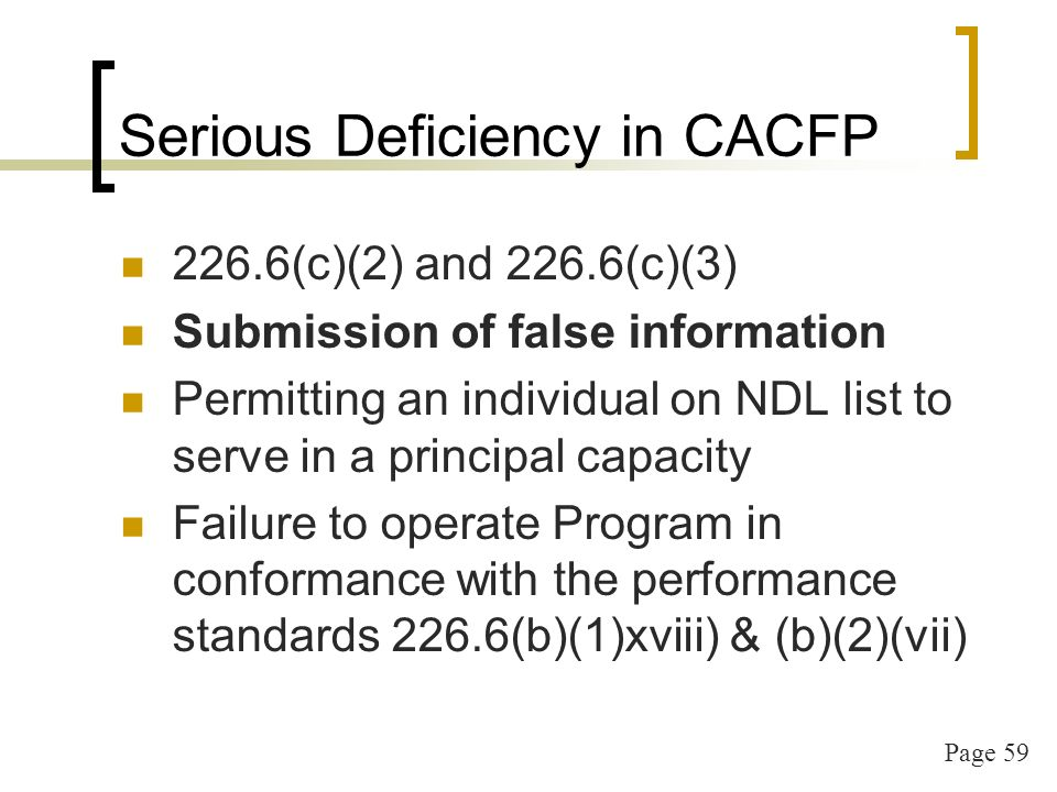 Page 60 Serious Deficiency cont.