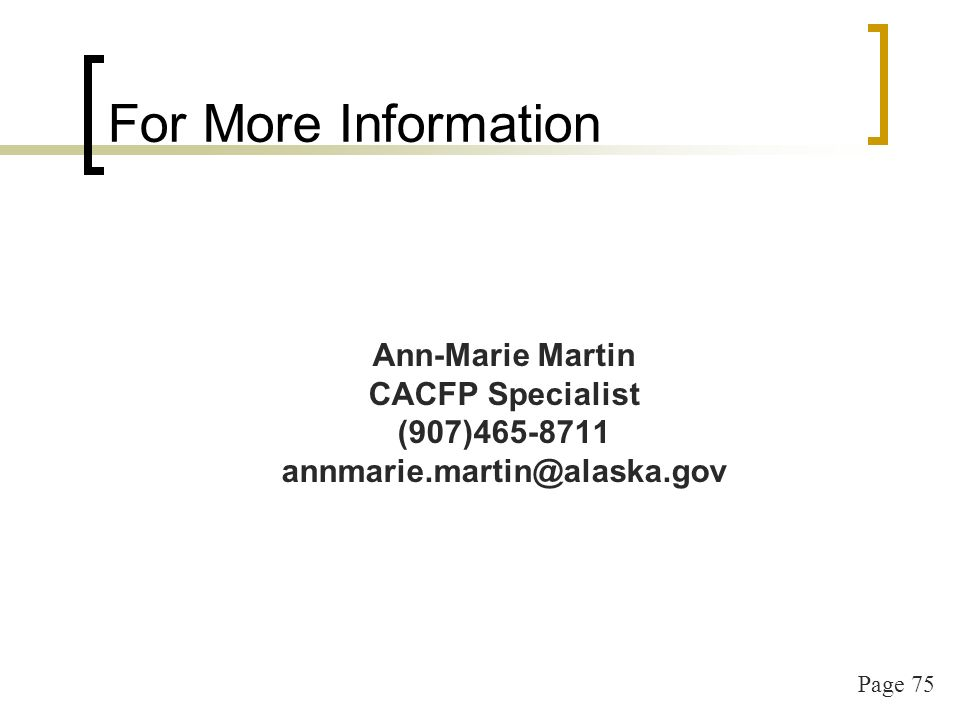 Early Head Start & Head Start Administrative Update FY14 Alaska Child and Adult Care Food Program