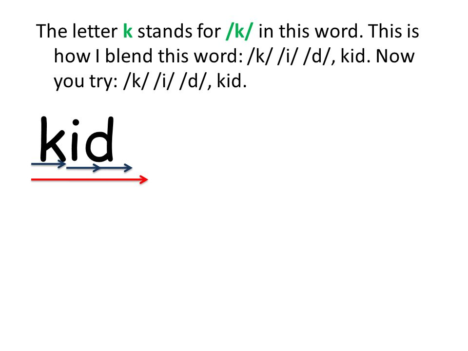 Blend these words(as a group), (individually) KitKinKim KissKillKip What letter is this.