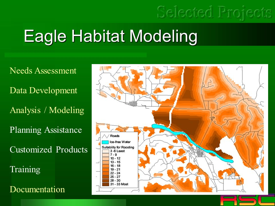Eagle Habitat Modeling Needs Assessment Data Development Analysis / Modeling Planning Assistance Customized Products Training Documentation
