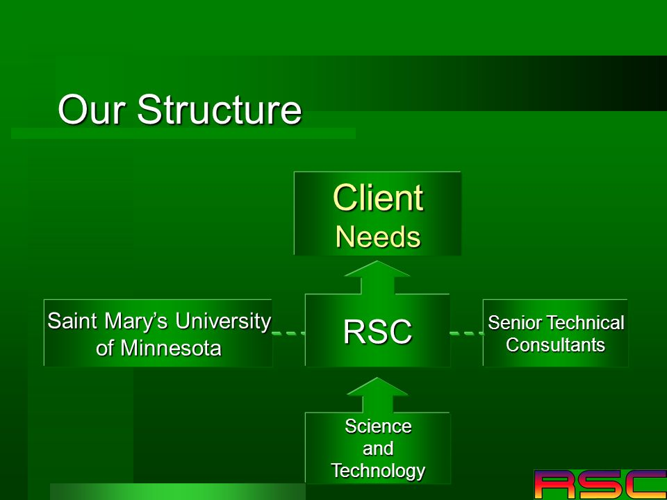 Our Structure ClientNeeds Saint Marys University of Minnesota RSC Senior Technical Consultants ScienceandTechnology