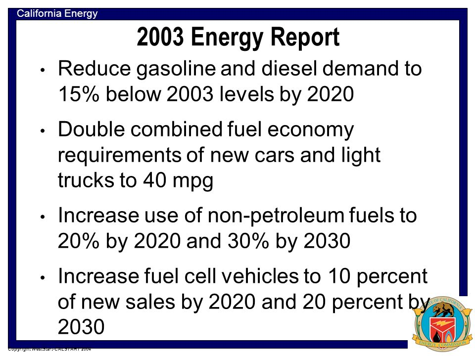 California Energy Commission Copyright WestStart-CALSTART 2004 2005 Energy Report Provide adequate supplies of transportation fuels to meet the needs of Californias growing economy.