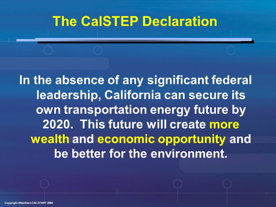 Copyright WestStart-CALSTART 2004 If California Leads Others Will Follow: A De Facto National Energy Policy CA is the only state with the legal authority to establish its own air quality standards and rules 7 states have chosen to adopt the California Low Emission Vehicle (LEV) program Approximately 10 states have elected to adopt the CA GHG emission control laws A de facto national standard created by the states