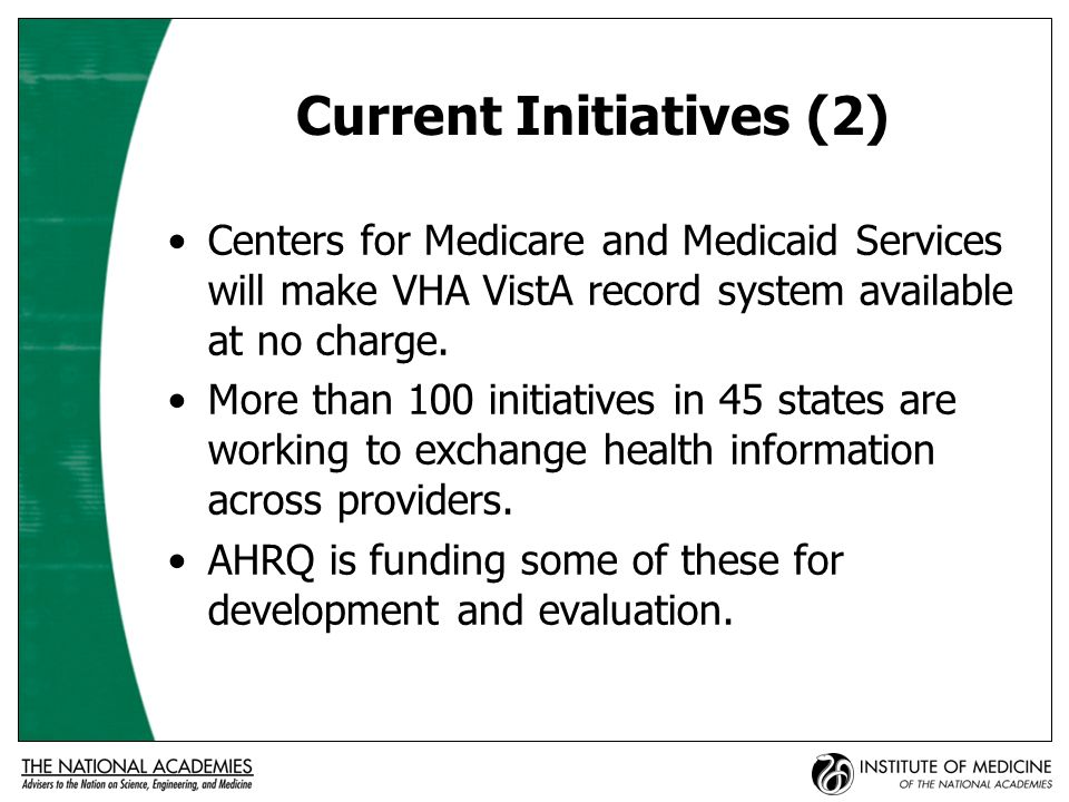 Current Initiatives (3) CDC is working with others to share information for monitoring, surveillance, data mining.