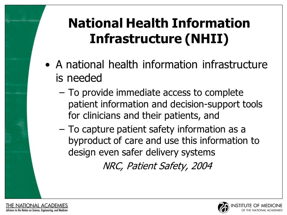 Barriers and Risks to Adopting EHRs and RHIOs Concerns about privacy and confidentiality Lack of national standards Varied and complex transactions requiring elegant but not simple solutions Sizable capital investment and multiyear commitment required to build systems Behavioral adaptations required for patients, clinicians, and organizations IOM, Crossing the Quality Chasm, 2001