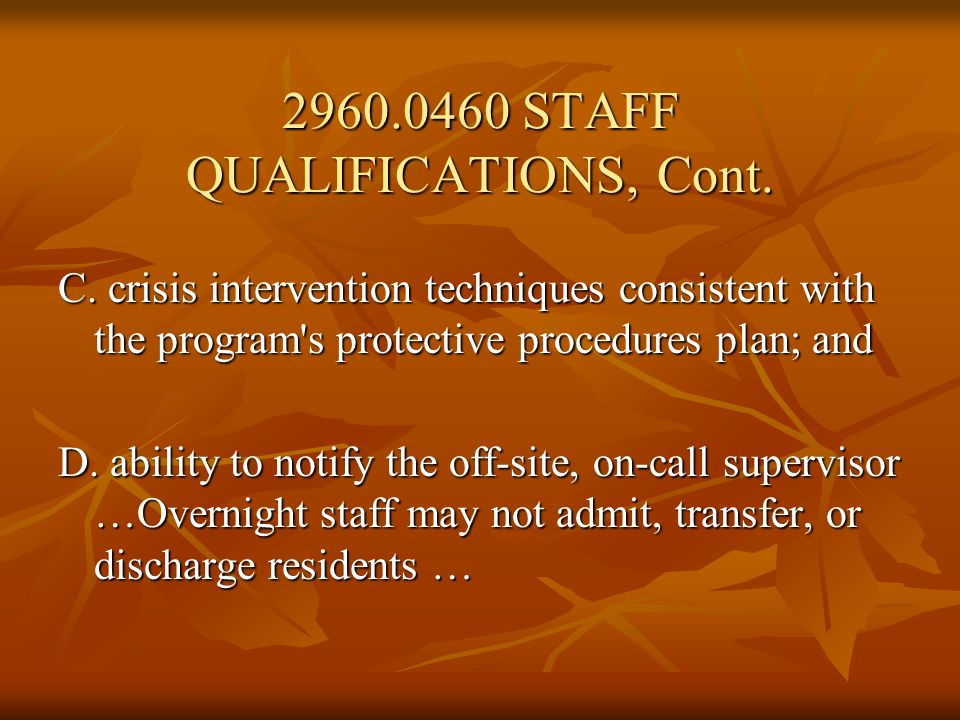2960.0470 STAFFING REQUIREMENTS.Subpart 1. Program director required.