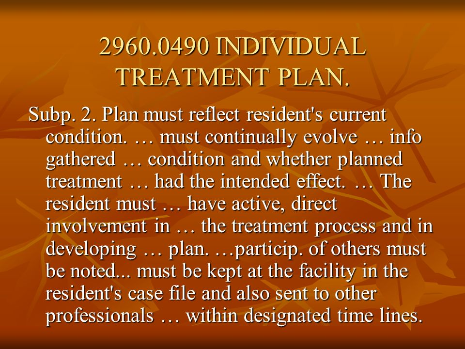 Subp.3. Plan contents. An individual treatment plan must include: A.