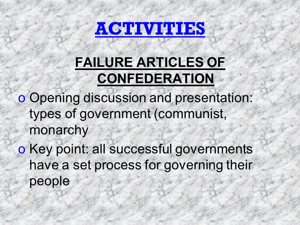 ACTIVITIES(contd.) oDiscuss and present Articles of Confederation oWhat was it.