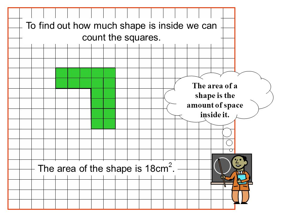The area of the shape is 48cm 2.The rectangle is made of 6 rows of 8 squares.