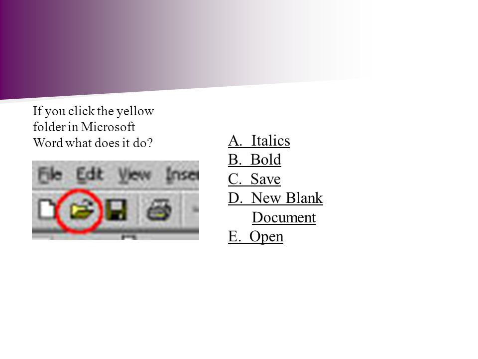 If you click the yellow folder in Microsoft Word what does it do.