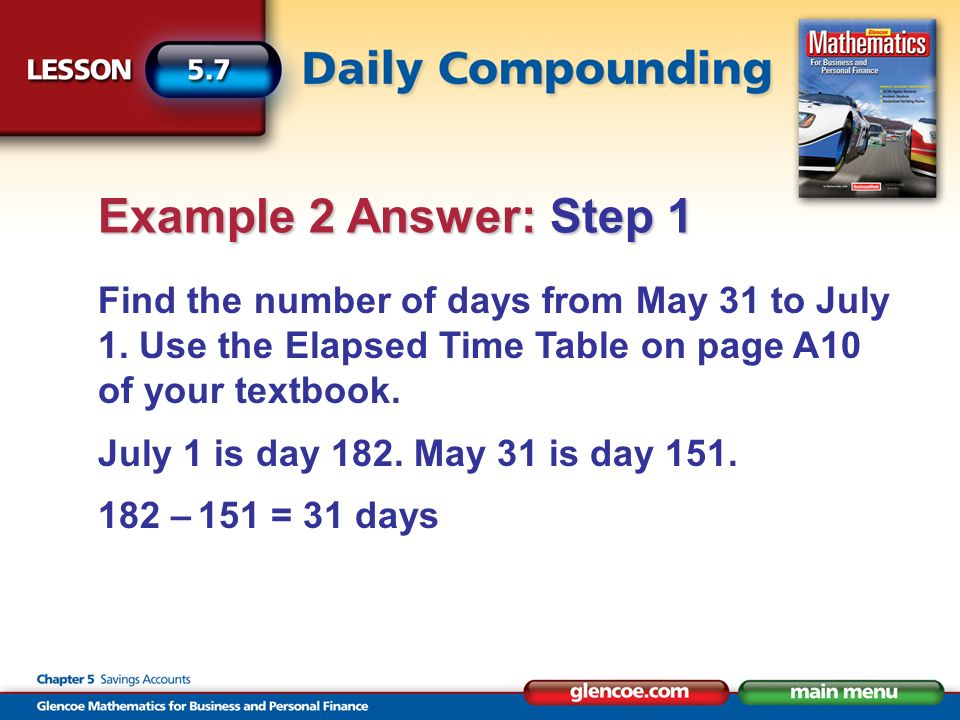 Find the amount of $1.00 for 31 days using the Compound InterestAmount of $1.00 table on page A10 of your textbook.