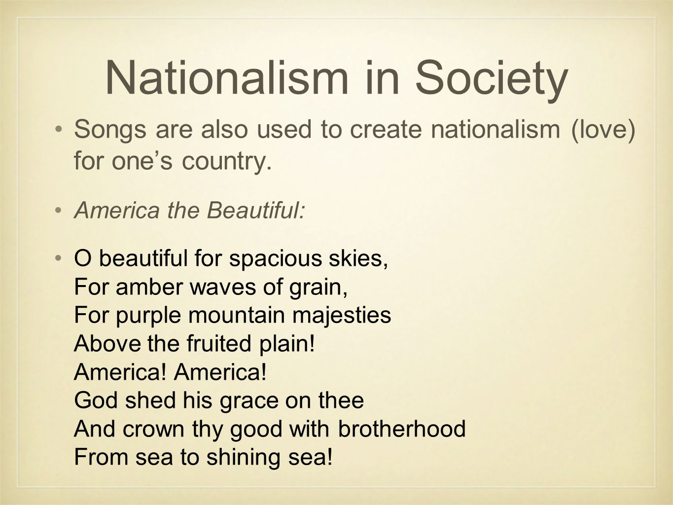 Nationalism Break it down: National - a group of people or a country Ism - the act of doing something Nationalism - the act of having pride for your people or country.