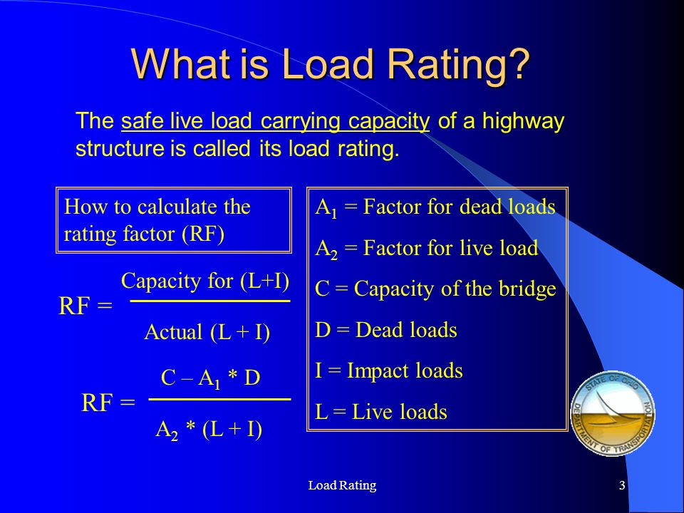 Load Rating4 Factors for LFR Load Rating Rating Type A 1 = Factor for dead loads A 2 = Factor for live load Inventory * Design level 1.32.17 Operating1.3 Ref: AASHTO Manual for Condition Evaluation of Bridges 1994