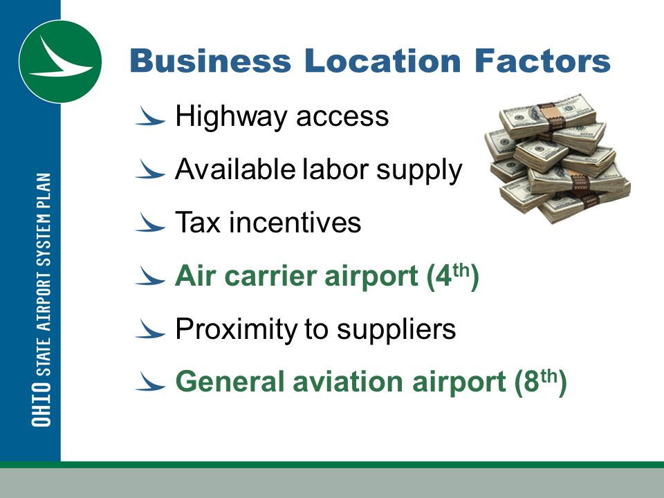 Ohios Airport System 105 Airports 7,200 based aircraft 4.0 million GA operations 585,000 CS operations 11.2 million passengers at 6.