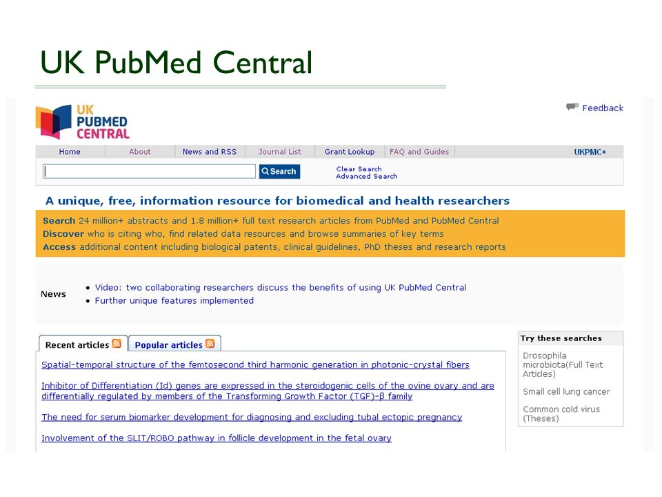 UK PubMed Central: Methods Publish in a journal that deposits all final-versions in PMC without author involvement Publish in a journal that offers an OA option, in which the publisher deposits final published version articles in PMC Self-archive the final peer-reviewed author manuscript in UKPMC (UKPMC+).