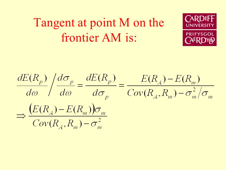 Tangent at point M on the frontier AM is: