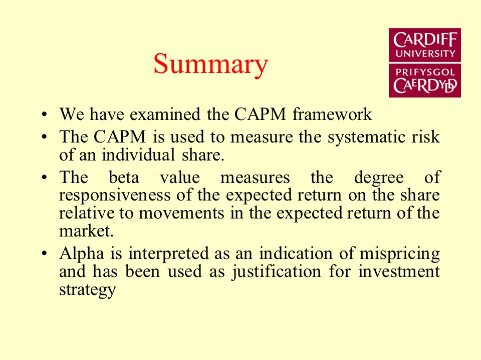 Summary We have examined the CAPM framework The CAPM is used to measure the systematic risk of an individual share.